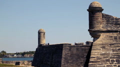 Western side of the Castillo de San Marcos in St. Augustine, Florida Stock Footage
