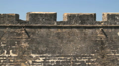 Detail shot of the battlements at the Castillo de San Marcos Stock Footage