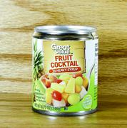 Can of great value fruit cocktail Stock Photos