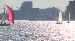 Toronto sunny hot summer day with blazing sun reflecting off lake Ontario Stock Footage
