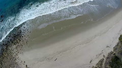 Aerial Shot - High above secluded beach Stock Footage
