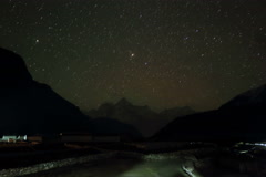 4K. Time lapse of stars behind mountain Thamserku, Kantaiga, Nepal Stock Footage