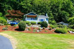 house with beautiful curb appeal. port orchard town, wa. - stock photo