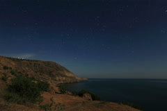 4K. Night landscape, night sky with moving stars over the sea. Mountain Meganom, Stock Footage