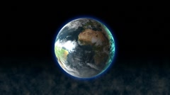 Rotating romantic earth with atmosphere and space dust Stock Footage
