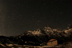4K. Time lapse of stars behind mountain Khumbila Stock Footage