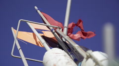 Flags on Fisherboats in Denmark Stock Footage