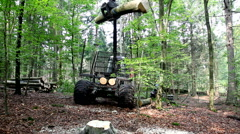 A hydraulic boom is lifting a log high in the air Stock Footage