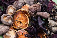 Heap of dried  vegetable and fruit Stock Photos