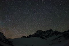 4K. Time lapse of stars behind mountains Pharilapche peak Stock Footage