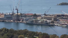 Australia Navy ships, at Garden Island Naval depot. - stock footage