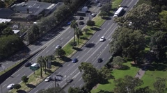 Aerial of Traffic on the 6 lane eastern Distributor Stock Footage