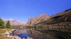 Lake in the moonlight. TimeLapse. Pamir, Tajikistan Stock Footage