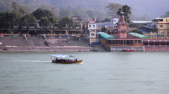 Boat on Ganges River in Rishikesh Stock Footage