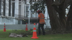New Zealand Parliament Buildings Handheld Raining Beehive Building Dead wood Stock Footage