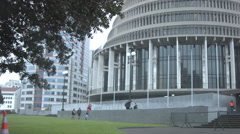 New Zealand Parliament Buildings Handheld Raining Beehive Building Static Chi Stock Footage