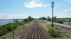 Point of view footage from a train Stock Footage