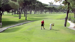 Algarve Golf Tee Shot players start Stock Footage