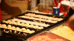 Takoyaki traditional shop at Japanese summer festival Stock Footage