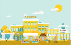 Small town with small and medium business. - stock illustration