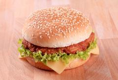 Closeup of a cheeseburger Stock Photos