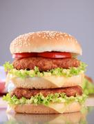 appetizing double cheeseburger - ready to eat - stock photo