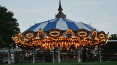 2244 Carousel merry-go-around Amusement Ride in Slow Motion - stock footage