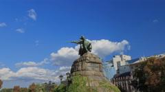 4K hyperlapse of Sofiya square and Bohdan Khmelnytsky statue, day, Kyiv, Ukraine Stock Footage