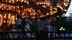 2248 Carousel merry-go-around Amusement Ride in Slow Motion - stock footage