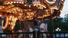2249 Carousel merry-go-around Amusement Ride in Slow Motion - stock footage