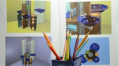 Colored pencils in designer studio Stock Footage