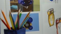 Colored pencils in designer studio Stock Footage