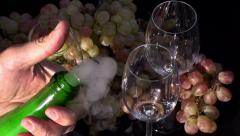 Cork Flying out of a Bottle of Champagne Stock Footage