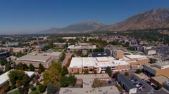 Aerial view of BYU Brigham Young University Stock Footage