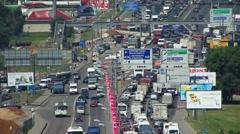 Heavy traffic jam on Leningradskoe Shosse street in Moscow, Russia. Timelapse. Stock Footage