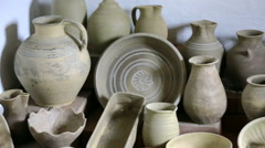 A room full of old clay pots Stock Footage