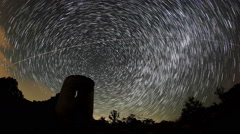 Stock Video Footage of Time lapse of stars behind Syuyrenskaya fortress, Crimea