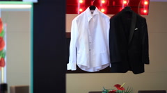 Groom shirt and tuxedo costume Stock Footage