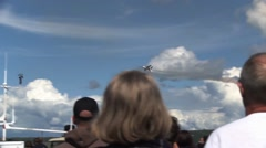 Thunderbirds display team at the Artic Thunder airshow 2014 - stock footage