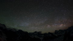 Time lapse of stars behind mountains Everest, Lhotse and Makalu  Stock Footage