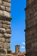 The famous ancient aqueduct in segovia, spain Stock Photos