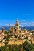segovia roman catholic cathedral at castile and leon, spain - stock photo