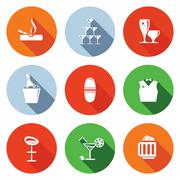 Bar flat icons set Piirros