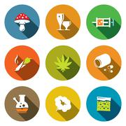 Color drugs flat icon collection Stock Illustration