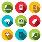 Exchange of information technology flat icons set Stock Illustration