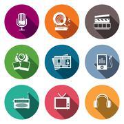 Media flat icon set - video, news, music, tv, recording, photo Stock Illustration