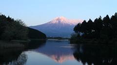 Mount Fuji from Tanuki Lake, Shizuoka Prefecture, Japan Stock Footage