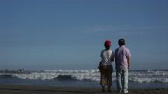 People looking at the sea in Hamamatsu, Shizuoka Prefecture, Japan - stock footage