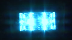 Flashing blue light on black background Stock Footage