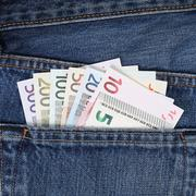 Current euro notes in trouser pocket pickpockets Stock Photos